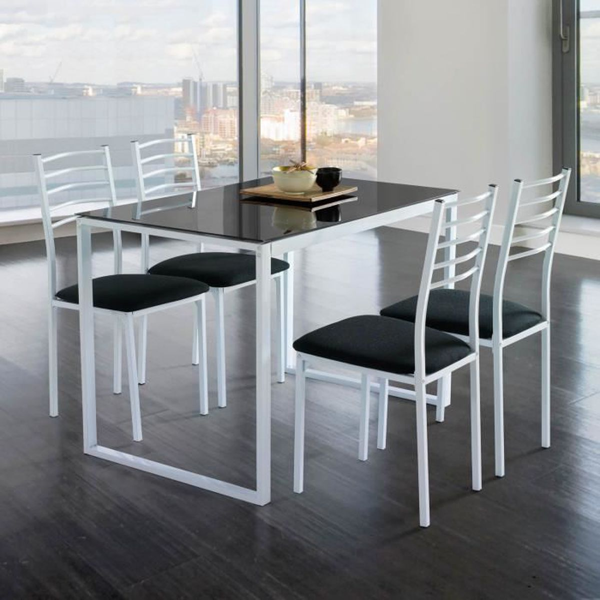 Ensemble de noa table de cuisine verre 4 chaises noir for Table et chaise de cuisine but