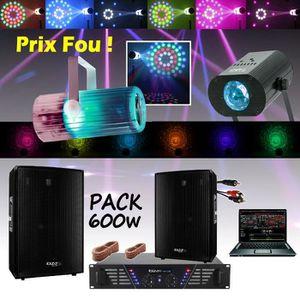 PACK SONO PACK SONO 600W + JEUX DE LUMIERE PA DJ LED LIGHT D