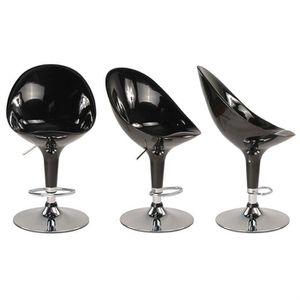 Tabourets de bar noir design ŒUF (lot de 2)