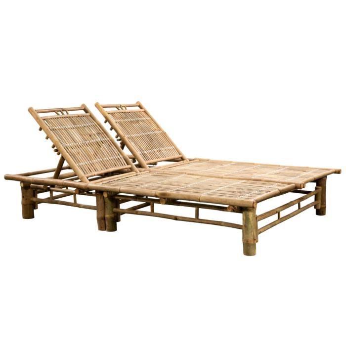 Bain de Soleil Chaise de jardin Haut de gamme - Lit de repos d'extérieur - pour 2 personnes Bambou Fur© 353923
