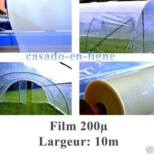 Film bache POLYANE professionnel 200µ 10 m de large pour serre tunnel de jardin (10m x 5m)