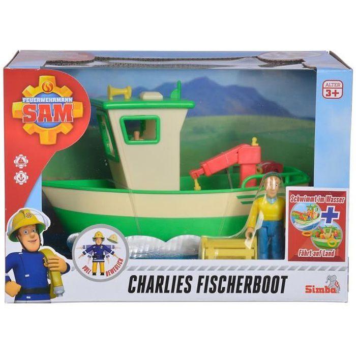 Set de jeu Le bateau de pêche de Charlie avec le personnage de jeu mobile Charlie et ses accessoires, tels que le filet de pêche et