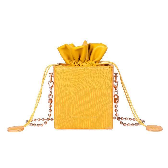 Sacs à Main seau à cordon de serrage pour femmes, sacoche à rabat tendance pour dames, à bandoulière, en forme d - Yellow - MIKE4176