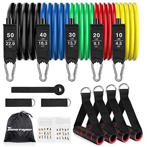 Elastique Musculation, BESTOPE Bande Elastique Musculation, &Eacutelastiques musculation, 5 Bandes de R&eacutesistance 150Lbs,42