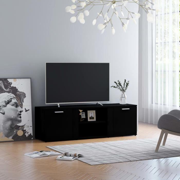 Joli & Mode 2912 - Meuble TV Design - Meuble de rangement Meuble de Télévision Noir 120x34x37 cm Aggloméré