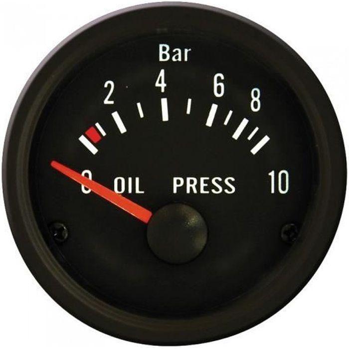 AutoStyle manomètre de pression d'huile avec capteur 52 mm 12 volts noir