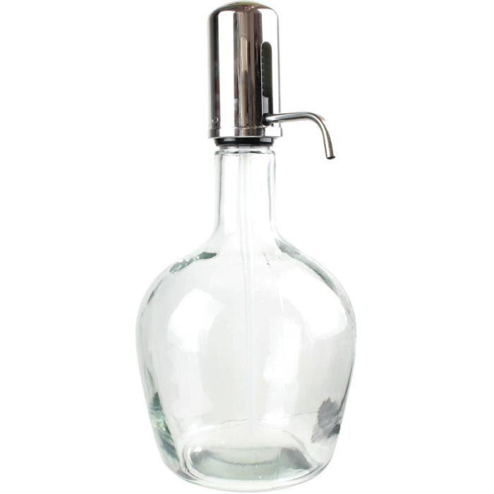 S&D KA1693 Fontaine à boisson Distributeur Pompe Push Bouchon à bec Transparent et gris chrome Verre 3,9L H41x19,5x21cm