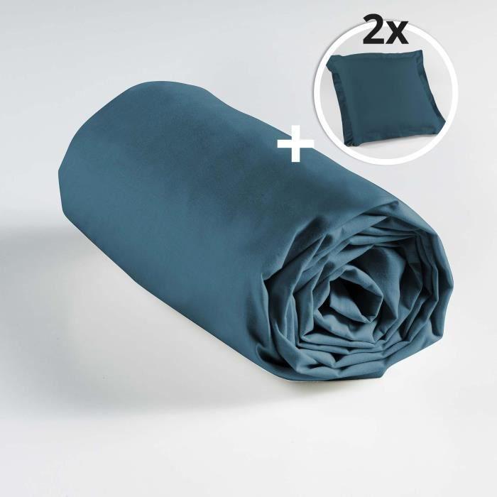 Ensemble drap housse 160 x 200 cm + 2 taies d'oreiller 63 x 63 100% coton Bleu nuit