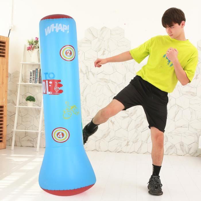 Sac de frappe Sac de boxe gonflable pour boxe Gobelet autoportant Fitness pour enfants adultes (1,6 mètre bleu)_XIC