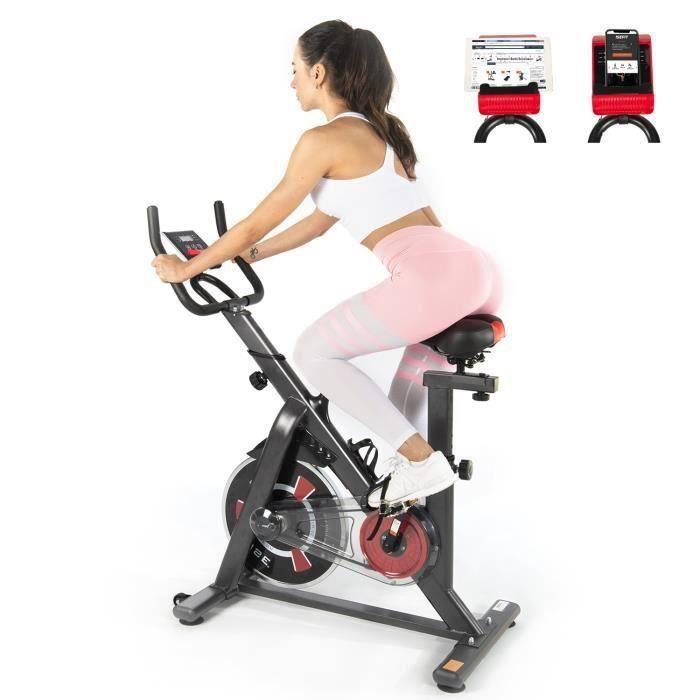 ISE Velo Biking Spinning Magnetique,Velo d'appartement Interieur Entrainement Cardio - Roue Inertie 10kg - Selle et Poignée Réglable