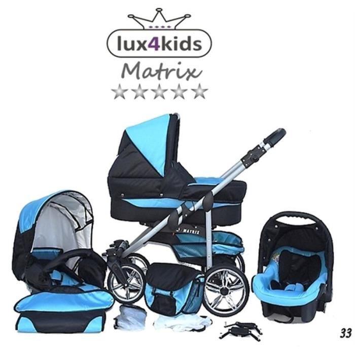 Matrix 2 Poussette Combinée 3en1 Set été Roues pivotantes Nacelle Siège Auto Poussette Canne 33 noir & turquoise