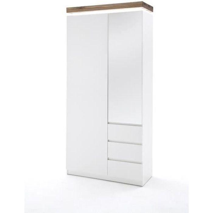 Armoire avec LED laque blanc brillant et marron - L91 x H198 x P38 cm