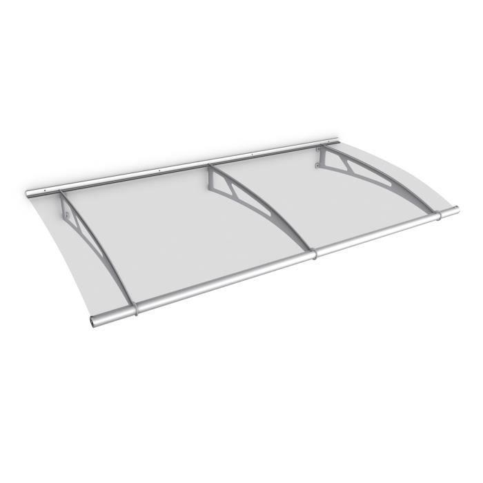 Auvent marquise de porte, 200 x 95 cm, LT-Line, transparent, fixations inox, Schulte