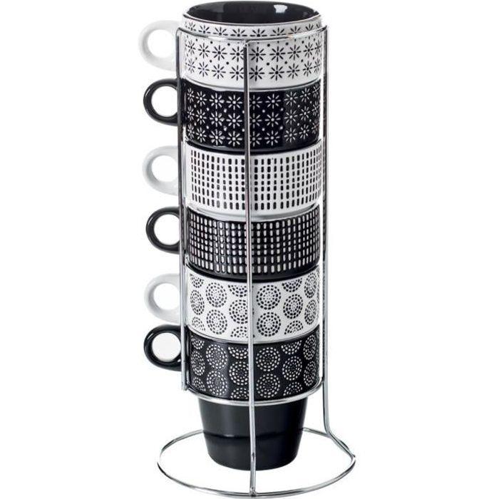 Secret de Gourmet - Lot de 6 mugs sur rack ethnik L, 13 x l, 13 x H, 30 cm / asse : D, 8,5 x H, 9 cm Noir / Blanc