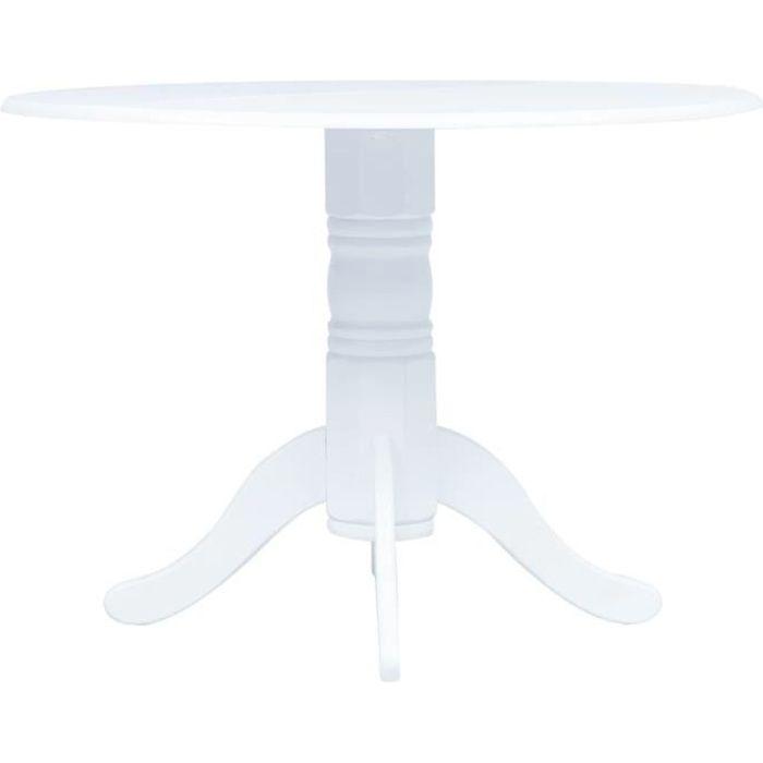 vidaXL Table de salle à manger Blanc 106 cm Bois d'hévéa massif