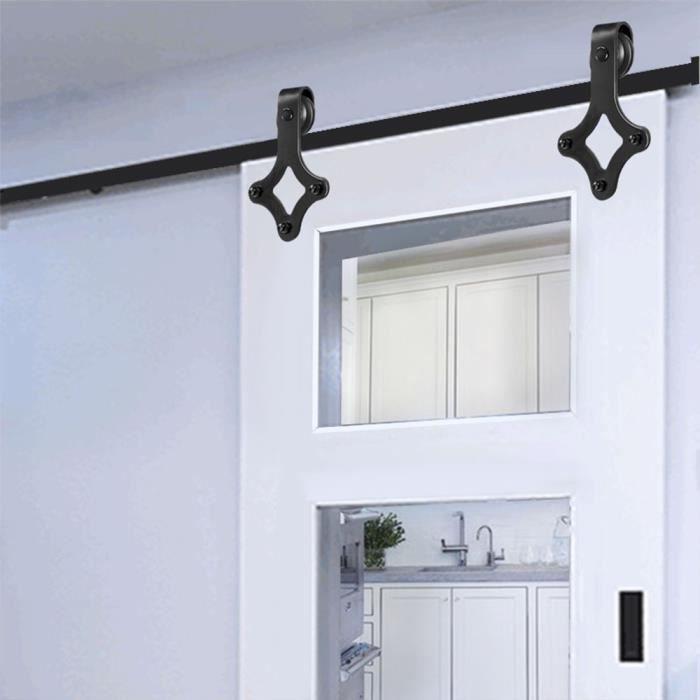 noir Quincaillerie Kit de Rail pour Porte Coulissante Forme en T C05 1.83M Porte coulissante en porte de grange Rail de porte coulissante pour porte simple