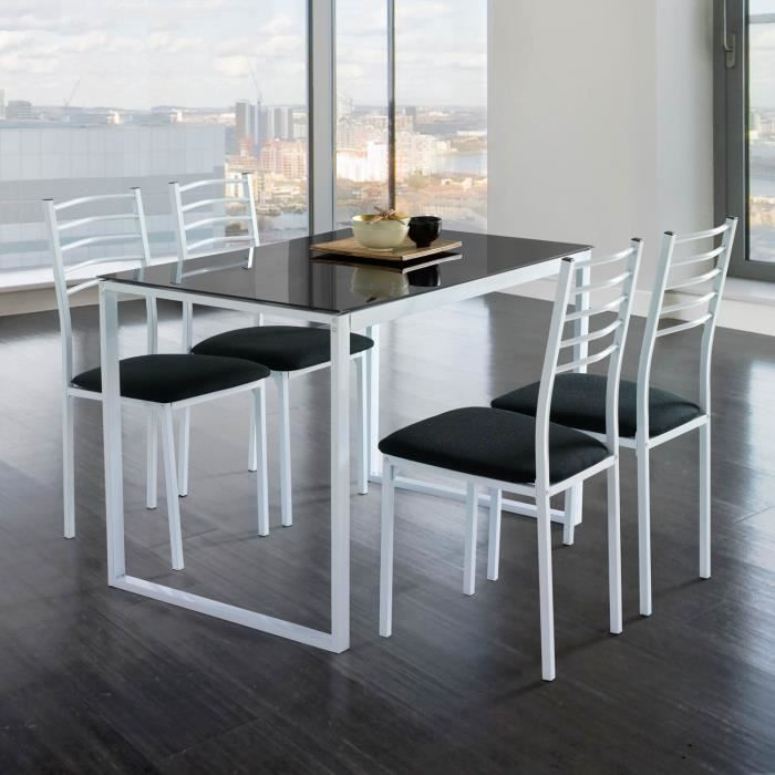 Table cuisine avec chaise verre noir achat vente table for Table plus chaise de cuisine