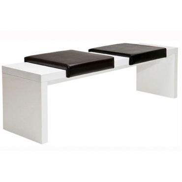 banc blanc laqu coussins noir achat vente banc cdiscount. Black Bedroom Furniture Sets. Home Design Ideas