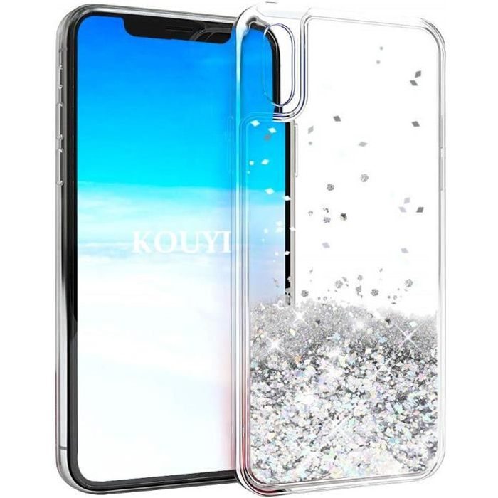 iPhone Xr-coque-girly-perle-paillettes-liquide-arg