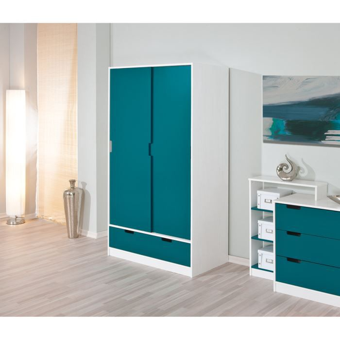 miliboo armoire enfant blanche bleue crea achat. Black Bedroom Furniture Sets. Home Design Ideas