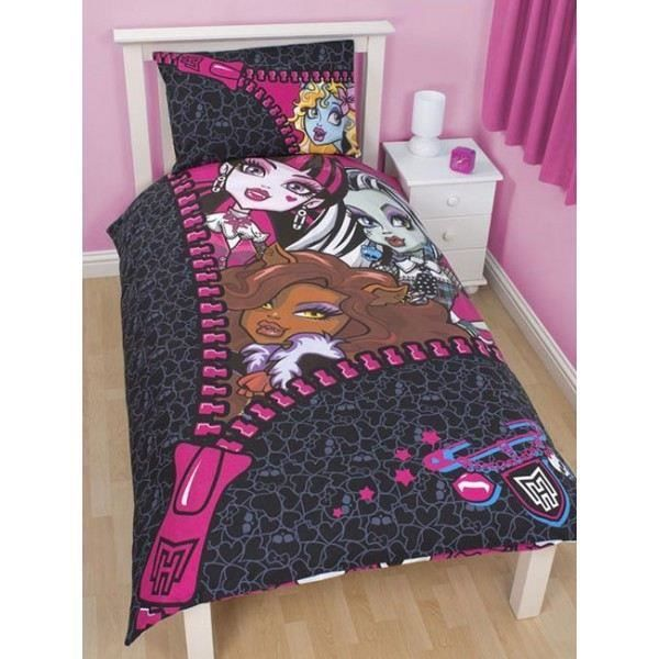 parure de lit reversible monster high zip achat vente parure de lit cdiscount. Black Bedroom Furniture Sets. Home Design Ideas