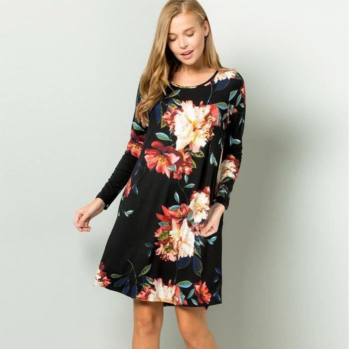 Femmes Col Rond Manches Longues Imprime Floral Tenue Decontractee Robe Tunique Fluide Robe Droite Noir Noir Achat Vente Robe Cdiscount