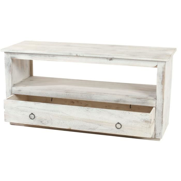 meuble tv tag re lowboard shabby blanche vint achat vente meuble tv meuble tv tag re. Black Bedroom Furniture Sets. Home Design Ideas