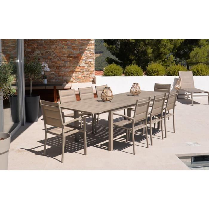 Ensemble de jardin avec 8 fauteuils en aluminium coloris ...