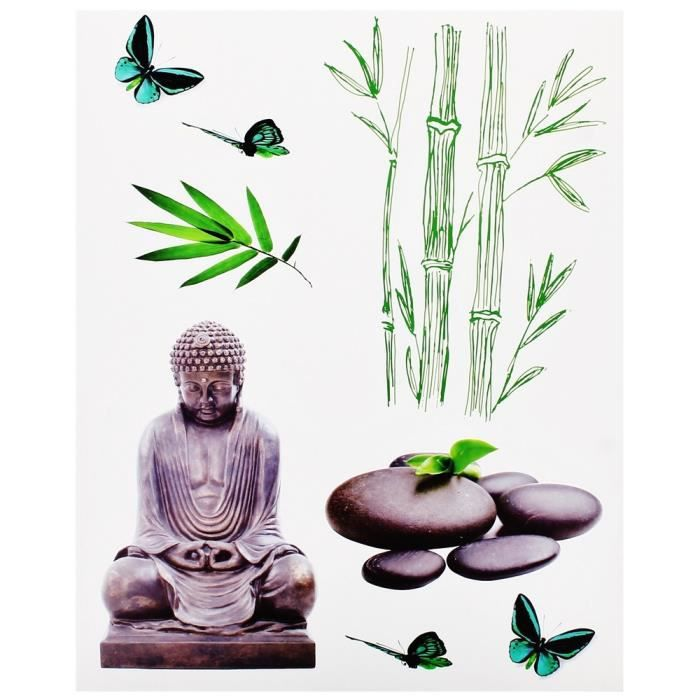 planche lot 8 stickers deco zen statue bouddha achat vente stickers bambou plastique. Black Bedroom Furniture Sets. Home Design Ideas