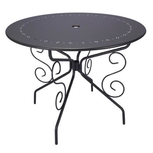 table de jardin ronde d95cm romantique gris anthracite 4 places achat vente table de jardin. Black Bedroom Furniture Sets. Home Design Ideas
