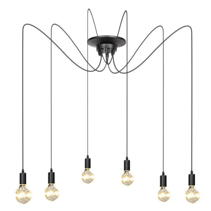 multi branche retro industriel moderne lustre suspension plafonnier style vintage noir 6. Black Bedroom Furniture Sets. Home Design Ideas