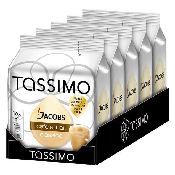 tassimo jacobs caf au lait classico 16 dosettes x 5 pi ces achat vente caf chicor e. Black Bedroom Furniture Sets. Home Design Ideas