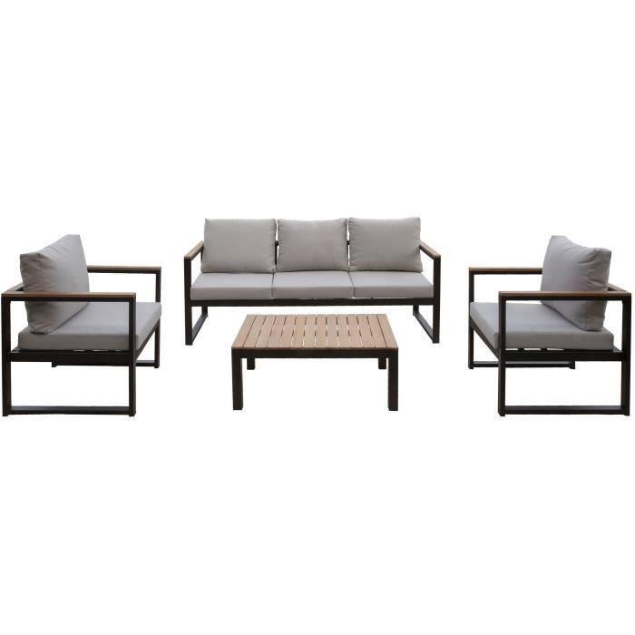 Salon de jardin en métal et bois d\'eucalyptus 5 personnes ALAO noir et bois  avec coussins gris clairs