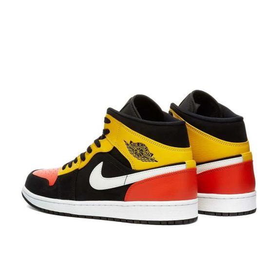 NIKE Baskets Air Jordan 1 Mid SE Noir/Rouge/Jaune Homme Noir/Rouge ...