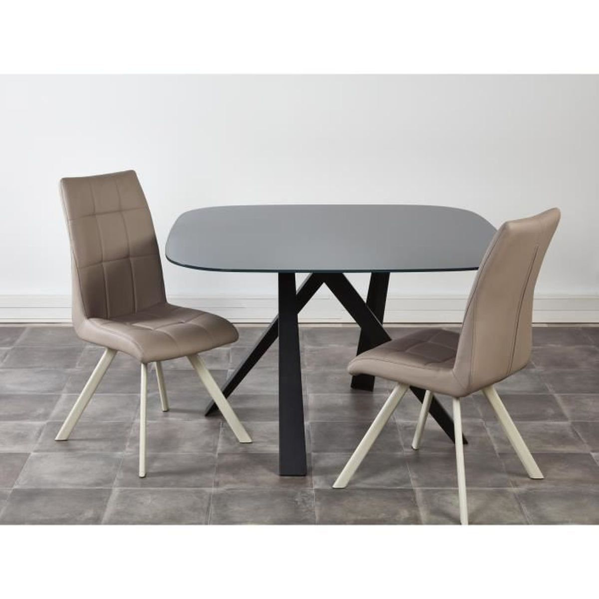 Ensemble table manger 2 chaises voldoy taupe achat vente table a mang - Table a manger taupe ...