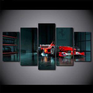 TABLEAU - TOILE Toiles imprimées 5 pièces voiture de course modern