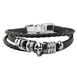 BRACELET - GOURMETTE Bracelet homme cuir tete de mort acier
