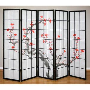PARAVENT Paravent 5 panneaux japonais en bois noir 220x175c
