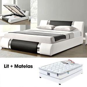 STRUCTURE DE LIT Lit coffre + matelas 160 ATLANTIC