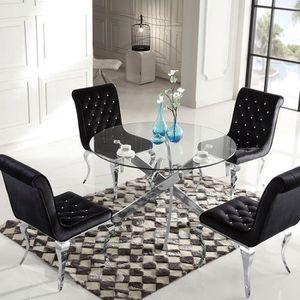TABLE À MANGER SEULE Table à manger ronde en verre Crosi