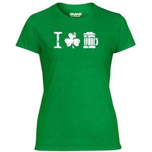 T-SHIRT T-shirt Femme TIR0073 i shamrock beer vintage dark