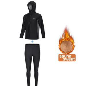 Combinaison Sudation Surv/êtement Minceur Entra/înement Sauna Suit Poids Fitness Training Gym Sport Sweat Costume Noir, XXXL MINIRAH