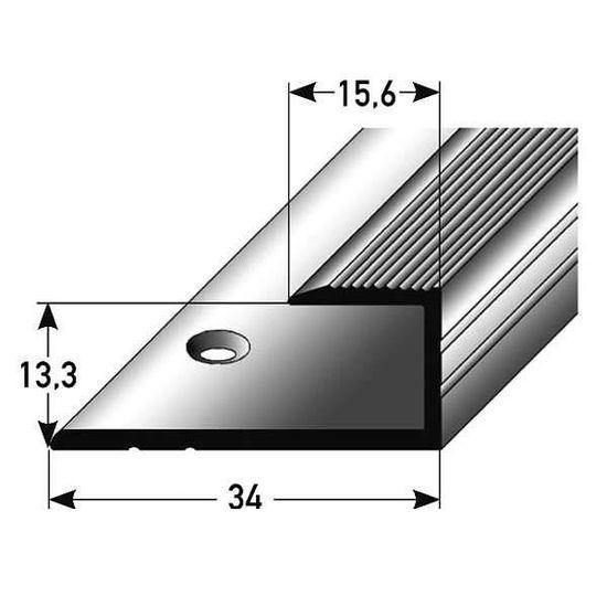 10 x 1 m couleur: bronze clair 15,3 mm de haut Profil/é de bordure // Seuil darr/êt avec le nez pour le parquet 10 m/ètres Aluminium anodis/é for/é