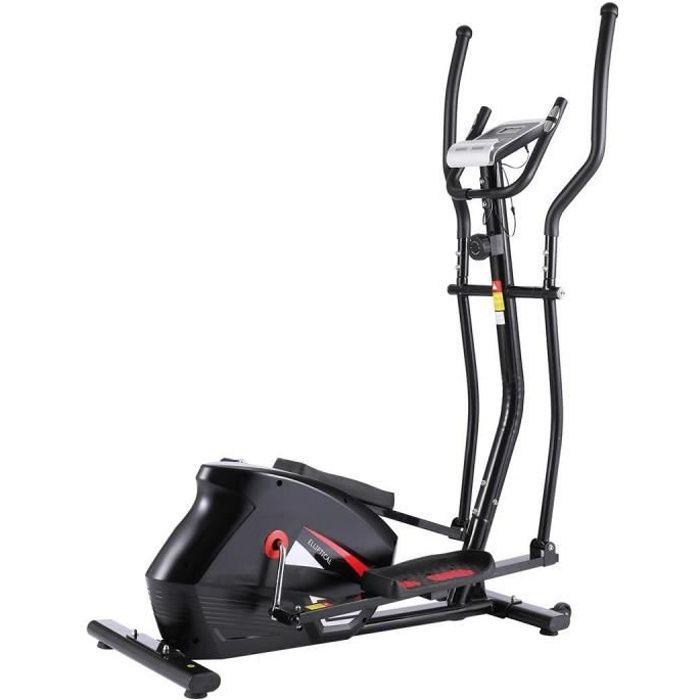 ANCHEER Vélo Elliptique Magnétique Cross Trainer avec APP/écran LCD/Porte Tablette/Fréquence Cardiaque, 10 niveaux de résistance