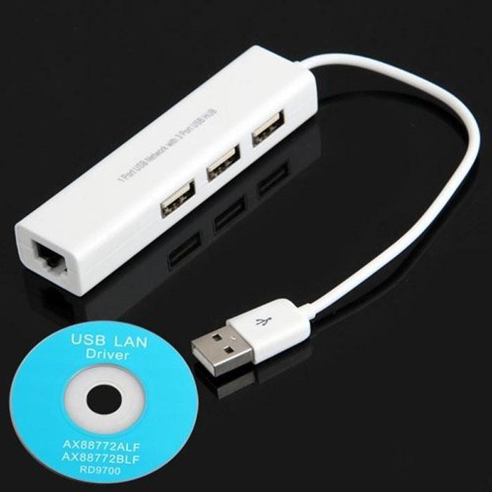 USB à RJ45 Lan Card Câble d'adaptateur réseau Ethernet + moyeu Hub 3 ports pour Win 8 7 XP
