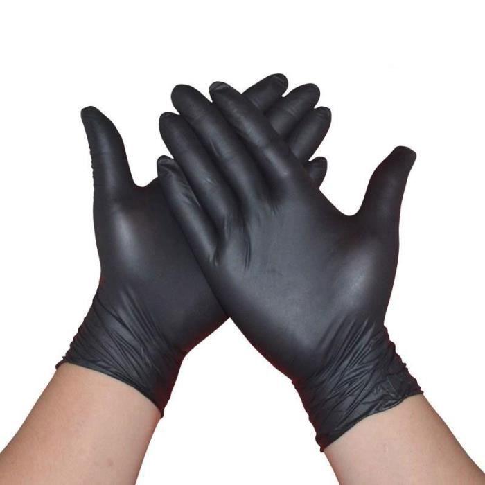 Gants en Nitrile jetables noirs 100 pièces/bo?te - Ambidextres sans poudre pour le nettoyage ménager, gants en Latex de tatouage à u