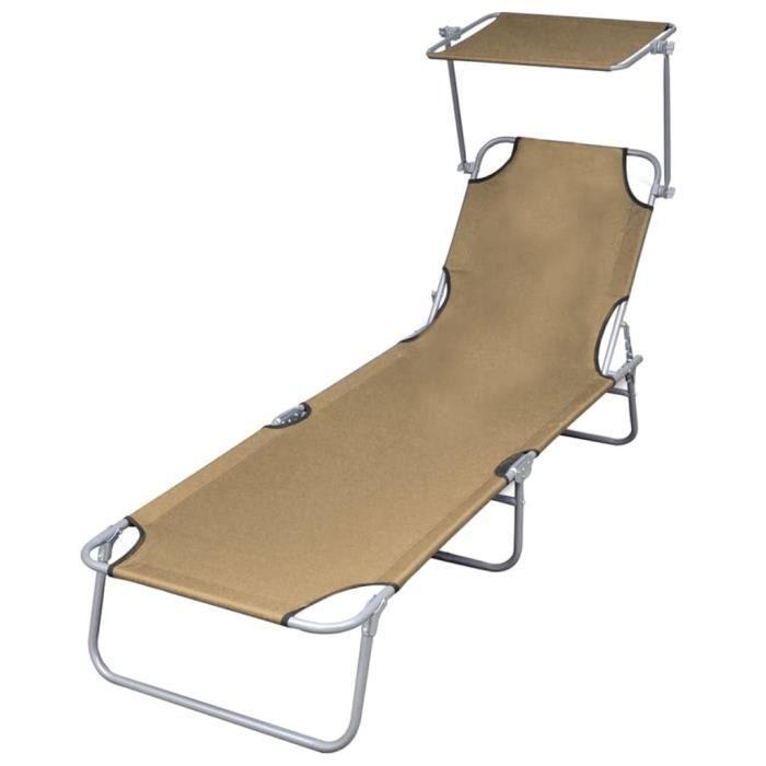 Dex- Chaise longue pliable avec auvent Acier Taupe résistant aux intempéries