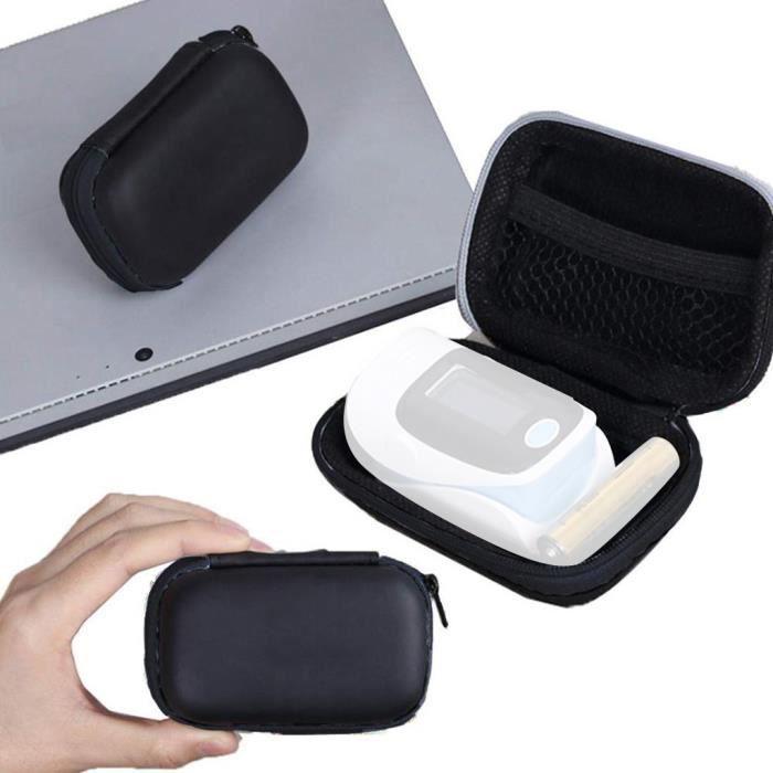 Pochette pour oxymètre de pouls pour doigt Sac de rangement pour étui portable Sac de protection noir LQB3733