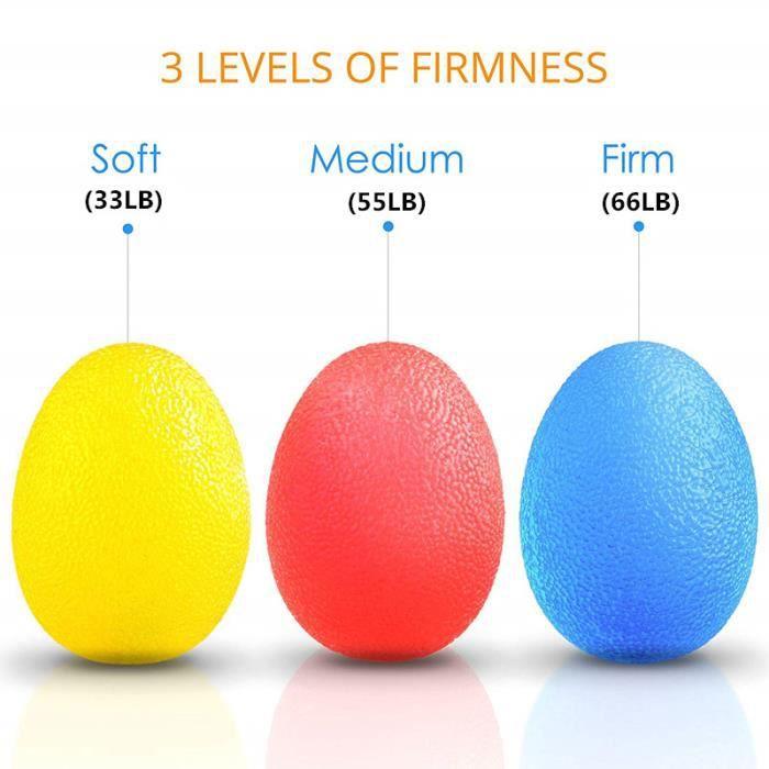 Lot de 3 Muscleur de Main Balle Anti Stress Balle Rééducation Main Souple Moyen Dur Diamètre de 5.8*3.4CM pour Diminution du Stress