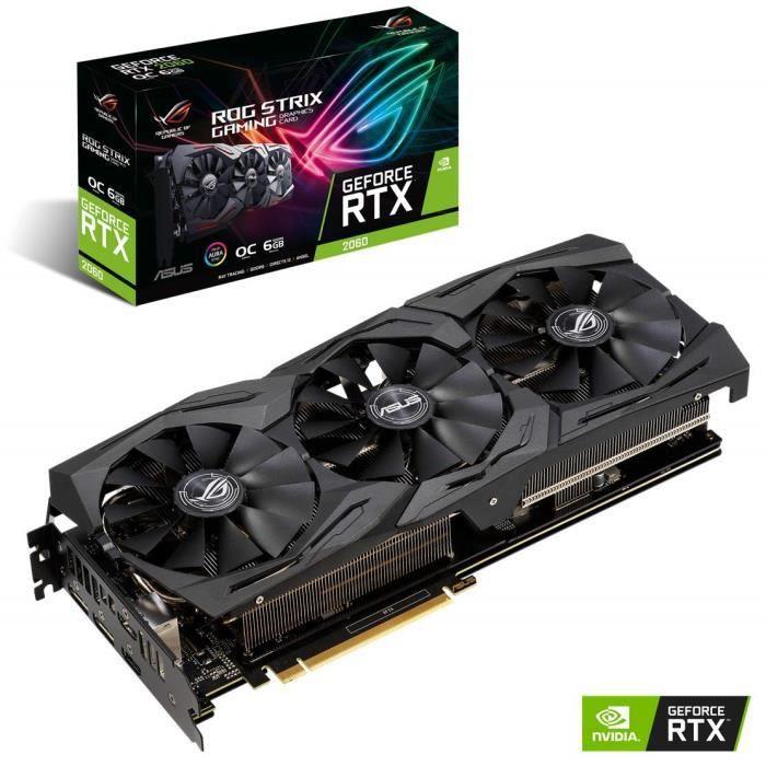 ASUS ROG -STRIX-RTX2060-O6G-GAMING GeForce RTX 2060 6 Go GDDR6 - Cartes Graphiques (GeForce RTX 2060, 6 Go, GDDR6, 192 bit, 14000